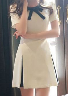White Patchwork Bow Tie Collar Pleated Short Sleeve Fashion Stylish Cute A-line Midi Dress - Mini Dresses - Dresses Casual Dresses, Fashion Dresses, Short Sleeve Dresses, Women's Dresses, Mini Dresses, Evening Dresses, Short Sleeves, Pretty Dresses, Beautiful Dresses