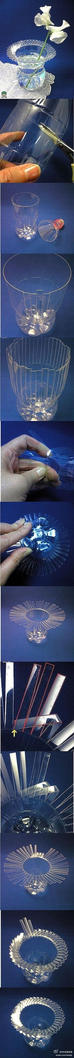 Recicla y realiza este hermoso florero con IdeasParaDecoracion. http://ideasparadecoracion.com/florero-reciclado/