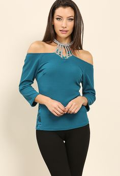 Embellished off-the-shoulder halter top