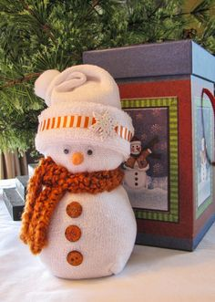 Sock Snowman with gift box by QPCC on Etsy                                                                                                                                                                                 Plus