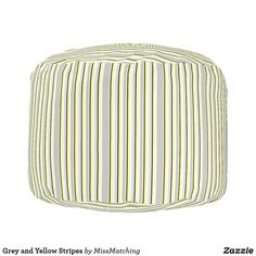 Grey and Yellow Stripes Pouf