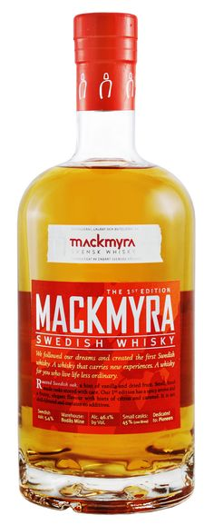 Mackmyra, Swedish Whisky. hint of vanilla with dried fruit and caramel undertones