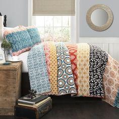 Lush Decor Bohemian Stripe Turquoise/Orange 3-piece Quilt Set - Prices, Deals & Reviews - 18859581 - Mobile