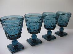 Vintage Colony Park Lane Blue Wine Glasses Set of Four. $24.50, via Etsy.