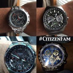 Watch name and model number from left to right moving clockwise 1. CHRONO TIME A-T (MODEL: BY0100-51H) $695 http://www.citizenwatch.com/en-us/watches/watch-detail/?model=BY0100-51H 2. LIMITED EDITION SATELLITE WAVE F900 (MODEL: CC9005-58E) $2400 http://www.citizenwatch.com/en-us/watches/watch-detail/?model=CC9005-58E 3. Chr…