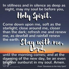 An evening prayer to the Holy Spirit.