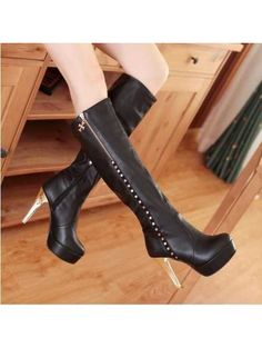 New Fashion Thin High Heel Knee High Boots For Women Sexy Red Bottom Solid Rhinestone Motorcycle Boot Shoes