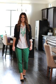 Green skinny pants, polka dots, boyfriend blazer, and a turquoise bubble necklace from Veronika's Blushing