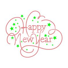 Happy New Year Simple Beauty Design Custom Heat Transfers Rhinestone