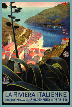 La Riviera Italienne: From Rapallo to Portofino - Vintage Travel Poster Vintage Italian Posters, Vintage Travel Posters, Vintage Art, Vintage Style, Old Poster, Illustrations Vintage, Tourism Poster, Travel Ads, Travel Photos