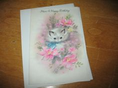 Vintage GLITTERED PARCHMENT BIRTHDAY Greeting Card CAT Kitten PINK unused ~F731