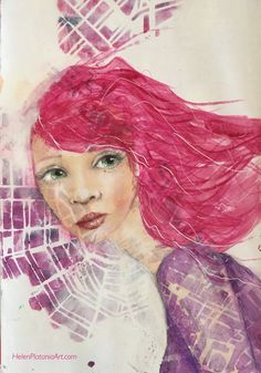 www.HelenPlataniaArt.com #artjournal #artist #mixedmedia #girl #pink