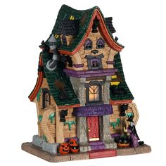 Lemax decorative villages are a holiday tradition made with old-world craftsmanship, combined with new-age technology. Glitter House Paint, Glitter Houses, Halloween Haunted Houses, Halloween House, Village Lemax, Village Houses, Halloween Village Display, Foam Factory, House Template