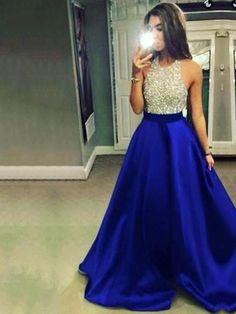 PINNED FROM UK STOCK Backless Ball Gown Satin Tulle Floor-length Beading Elegant Halter Prom Dresses #UKM020102391