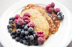 Banana pancakes: mix one banana and two eggs, and add little bit salt. Serve with fresh or frozen berries and maple syrup.