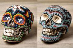 Beaded Skulls (skull,skulls,skeleton,art,beautiful,halloween,jewelry,mexico,huichol,rainbow)