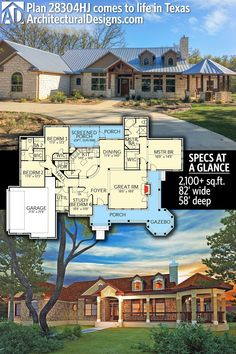 Architectural Designs House Plan 28304HJ, client-built in Texas, gives you 3-4 beds, 2.5 baths and over 2,100 sq. ft. of heated living space. Ready when you are. Where do YOU want to build? #28304HJ #adhouseplans #architecturaldesigns #houseplan #architecture #newhome #newconstruction #newhouse #homedesign #dreamhome #dreamhouse #homeplan #architecture #architect #hillcountry #texashome
