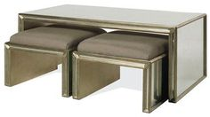 Large Rectangular Verre Eglomise Panelled Coffee Table Available in Gold or Antique Silver Leaf Finish Two Matching Small Benches Sold Separately Smaller Rectangular Sized Coffee Table Also Available 43