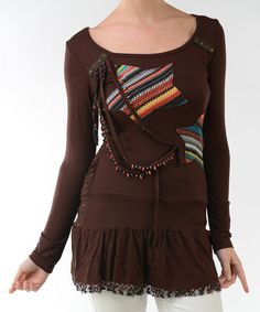 Take a look at this Coffee Beaded Star Ruffle Hem Long-Sleeve Top by Lulu on #zulily today! $20 !!