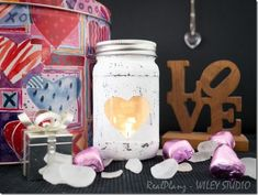 Heart Mason Jar Votive | Mason Jar Crafts Love