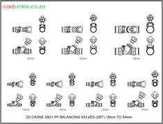 Valves: Balancing: Crane – PF Set to Cad Blocks, Autocad, Crane, 2d, The Unit, Type