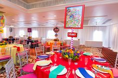 Candyland Party Theme Centerpieces - Bat Mitzvah New Jersey {Westminster Hotel NJ, Chris Jorda Photography} - mazelmoments.com