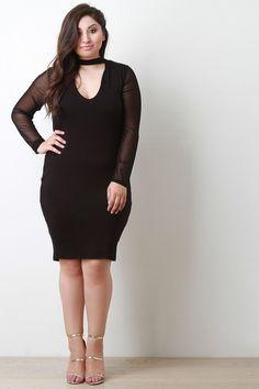 a8599fd9a9d Keyhole Contrast Mesh Long Sleeve Bodycon Dress. Curvy FashionWomens FashionPlus  Size FashionCute DressesShort DressesSleeve DesignsMini ...