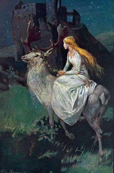 Illustration by Wilhelm Roegge to The Maiden Notburga' A fairy tale by the Grimm Brothers Fairytale Fantasies, Fairytale Art, Brothers Grimm, Photo D Art, Fairy Land, Faeries, Illustrators, Fantasy Art, Dark Fantasy