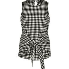 River Island Black gingham print tie knot tank top ($56) ❤ liked on Polyvore featuring tops, black, cami / sleeveless tops, women, camisole tank top, tie-dye tank tops, camisole tops, tall tank tops and cami top