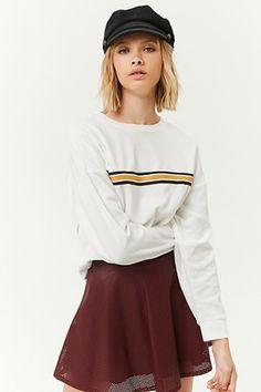 5abe4f94af FOREVER 21 Velvet Striped-Trim Sweater F21