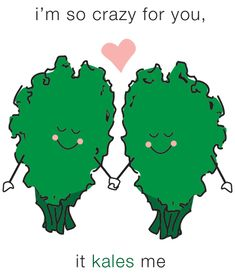 Share the Love! Send this kale-tastic Valentine's e-card to your friends & family. They will automatically receive it on Valentine's day! Food Jokes, Food Humor, Funny Food, Cute Puns, Funny Puns, Funny Stuff, Fun Funny, Valentine Day Cards, Valentines