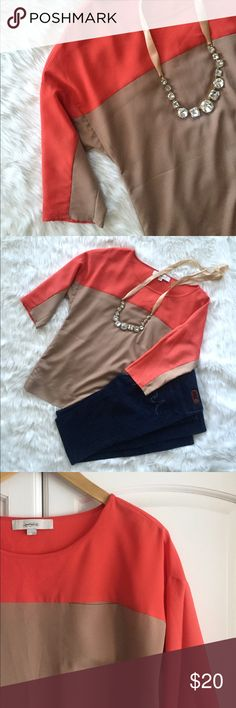 LOFT Coral and tan colorblock top Pretty, lightweight 3/4 sleeve top from Ann Taylor loft. Small, decorate pocket as seen in photo. Statement piece by itself or looks great under a jacket! 100% polyester. LOFT Tops Blouses
