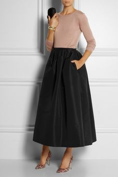 RED Valentino taffeta maxi skirt.. with a statement necklace... Great outfit for fall...