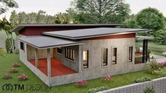 Simple but appealing three-bedroom bungalow - Ulric Home Modern Bungalow House Design, Wooden House Design, Modern House Floor Plans, House Plans, Wooden Houses, 3 Bedroom Floor Plan, One Storey House, Thai House, Porch And Balcony