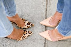 Nude and leopard pumps with denim