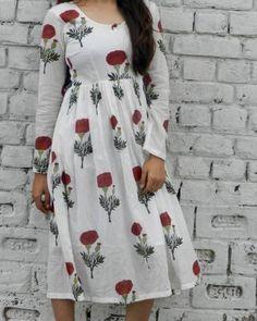 Red Mogra Block Print Midi Dress