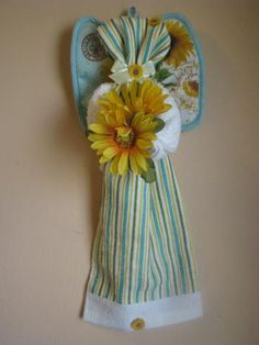 Doesn't my newest Kitchen Towel angel look pretty in stripes.Hang her in your kitchen to brighten your day.   Makes a great housewarming gift.