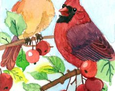 ACEO Limited Edition 1/25- Cardinals in a crab apple, in watercolor