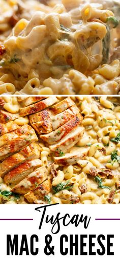 One Pot Tuscan Mac and Cheese is such an incredible dinner idea to whip up. Cheesy macaroni and cheese with Tuscan flavor. Top with chicken and dive in fork first. #macaroni #cheese #macandcheese #chicken #dinner #cheesy