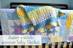 "Free pattern for ""Cluster V-Stitch Baby Blanket""!"