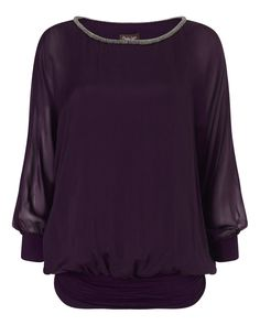 Buy Phase Eight Jessica Beaded Neck Blouse, Plum from our Women's Shirts & Tops range at John Lewis & Partners. Purple Blouse, Sheer Blouse, Holiday Blouses, Evening Blouses, Slim Fit Trousers, Phase Eight, Batwing Sleeve, How To Wear, Plum