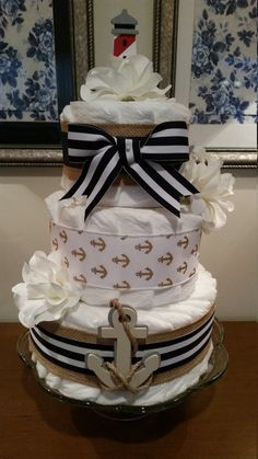 Nautical Diaper Cake with Burlap Navy and Gold by ItsUpInTheAttic