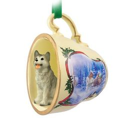 Husky Gray & White w/Brown Eyes Tea Cup Sleigh Ride Holiday Ornament by Conversation Concepts