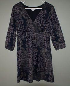 Garnet Hill navy blue floral leaf cotton dress 3/4 sleeves womens size 2 #GarnetHill #Shift #Casual