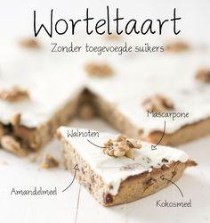 Worteltaart Pureed Food Recipes, Wine Recipes, Baking Recipes, Healthy Sweets, Healthy Baking, Healthier Desserts, Sugar Free Recipes, Sweet Recipes, Baking Bad