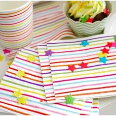 Rainbow Lines & Stars Napkins Kids Party Decorations, Party Themes, Party Cups, Tea Party, Party Shop, Childrens Party, Baby Design, Paper Plates, Event Planning