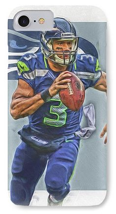 Russell Wilson IPhone 7 Case featuring the mixed media Russell Wilson Seattle Seahawks Oil Art by Joe Hamilton