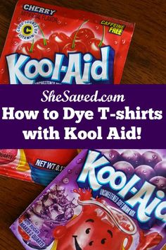Use my How to Dye T-shirts with Kool Aid instructions to make cute (and cheap!) colored shirts in minutes!