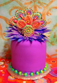 Beautiful birthday cake vibrant color