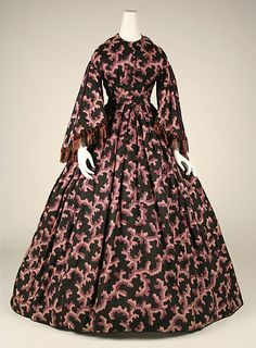 Dress 1860, American, Made of silk.